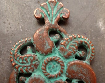 Copper Patina Abstract Pendant