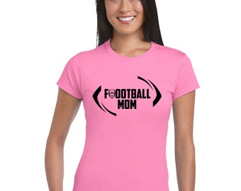 Customized Football Mom women T shirt, with the option to add personalization on the back.  Read Description