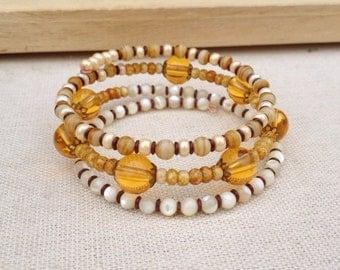 Ochre & ivory memory wire bracelet ~ One of a kind jewelry
