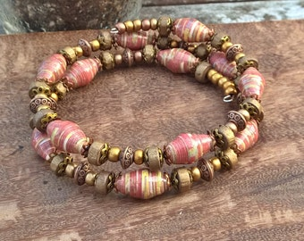 One of a kind paper bead memory wire bracelet ~ red, copper and gold ~ elegant filigree bracelet