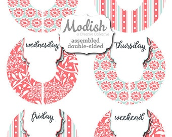 Back to School Clothes Organizer, Days of the Week, Assembled, Closet Dividers, Closet Organizer, Girl, Coral, Spa Blue, Pink, Mint