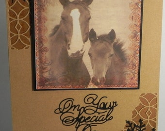 Horse and Colt On Your Special Day card with matching gift tag