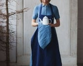 Linen Apron, Navy Blue, Traditional Cooking Apron, Kitchen Linens