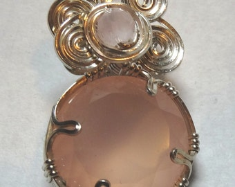 Wire Wrapped Faceted Pink Chalcedony Pendant
