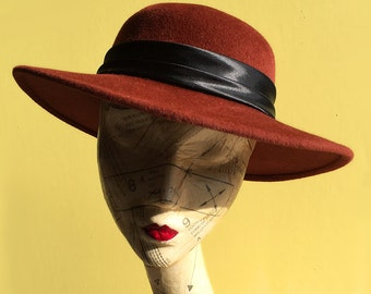 Vintage 1970s Sienna Red Felt Hat with Wide Brim & Black Bow. Rabbit Fur Hat by Right Impressions