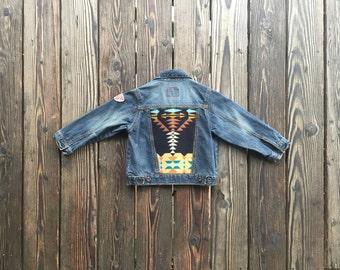 Vintage Levis Dark Denim Jacket with Black Pendleton Wool Back. Size 4T