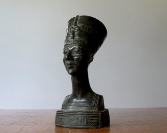 Vintage Nefertiti Bust / Sculpture Carved Black Stone