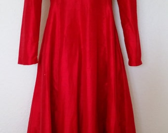 Red Silk Dupioni Princess Seamed Coat Perfect For The Holidays!