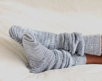 Hand Made Bed Socks - shades of grey - Knee High -  MOHAIR and Acrylic Blend - KNITTED SOCKS -super soft and cosy - winter warmers hot socks