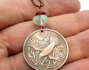 Bird necklace - bird coin pendant - Celtic bird necklace - Isle of Man two cent coin - red billed chough - flying bird pendant -coin jewelry