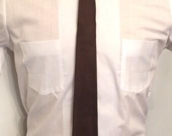 On Sale Vintage MENS Jac Lin by Prince Igor dark brown silk skinny tie, circa 50s-60s