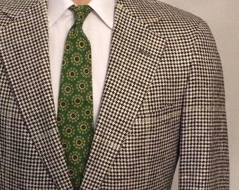 Vintage MENS Polo University Club by Ralph Lauren houndstooth tweed blazer, sport coat or jacket, made in U.S.A.