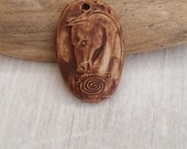Spirit Horse in rust   ceramic  healing pendan ooak art bead