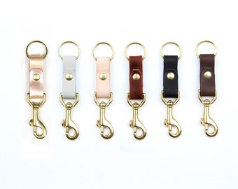 LEATHER and Brass Key Fob. Leather Key Chain with Swivel Hook. Leather Keychain.