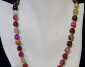 Fun Pink Agate Beads with Sterling Silver