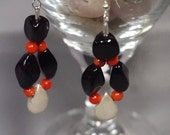 Onyx and Red Coral Hoop Earrings With Sterling Silver Teardrop