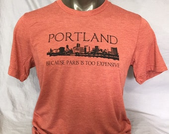 Portland, Oregon,  Paris,  Funny T Shirt, Men's Funny T Shirt, Skyline