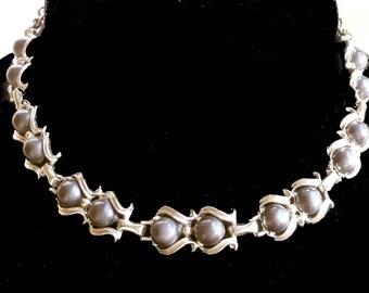 Satin Grey Lucite Necklace 1950 - 1960s Vintage Retro