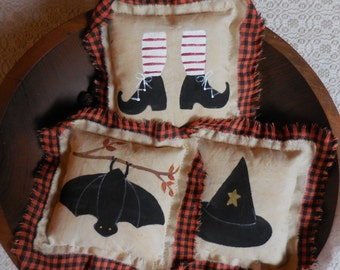 Primitive Folk Art Halloween Pillow Tucks Bat Witch Shoes Hat Bowl Fillers