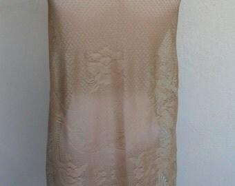 Gold Shawl Lace Fringed Gypsy Bohemian Gold Vintage