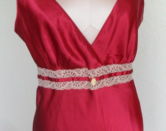 Vintage Chemise Nightgown Silky Red Satin Size Medium