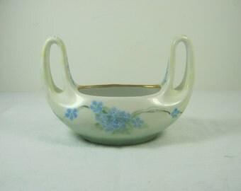 Vintage Forget-Me-Not BASKET Blue Floral Vase Tiny Flowers