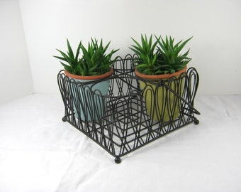 Vintage WIRE STORAGE BASKET Plant Holder Kitchen Organizer Black