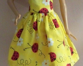 Handmade Barbie Doll Clothes- Yellow with Lady Bugs Barbie Dress