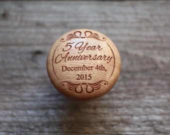 Custom 5th Anniversary Gift for wife 5th Anniversary box Anniversary ring box Earring box Wood box Small box Round box Engraved box