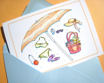 Beach Card - Summer Birthday Card - Retirement Card for Women - Bon Voyage Card