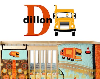 Boys Construction Wall Decal - Nursery Truck Decals - Kids Name Sticker - Dump Truck Personalized - Boys Wall Decals - Custom Color
