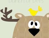 """Nursery / Kids Prints - Woodland.  Deer """"Headshot"""""""
