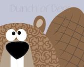 "Nursery / Kids Prints - Woodland.  Beaver ""Headshot"""