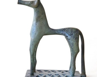 Greek Horse Metal Sculpture, Bronze Ancient Greece Geometric Horse, Bronze Metal Art Sculpture, Greek Art, Museum Replica, Equine Art Decor