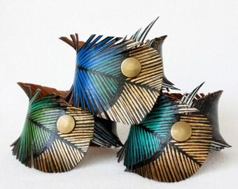 Painted Leather Cuff Bracelets - Vegan Turkey Feather Cuff, Handmade Jewelry
