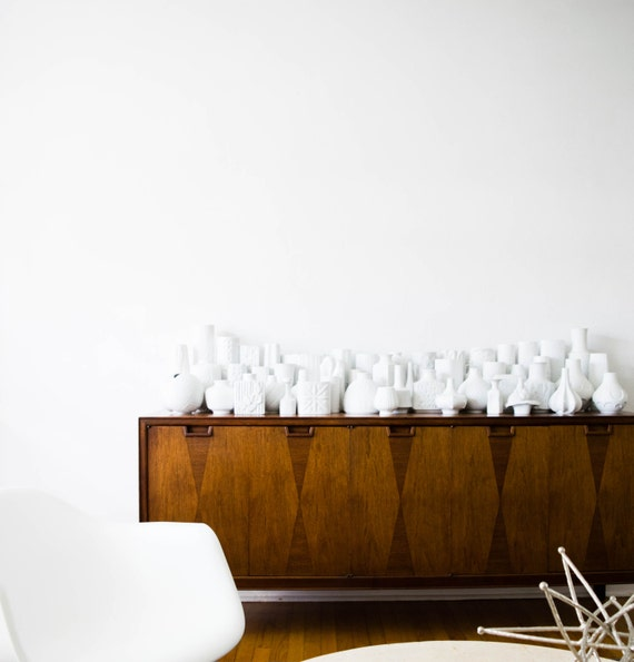 Mid Century Matte White Porcelain Vase Set // Fabius von Kugel Hutschenreuther West Germany
