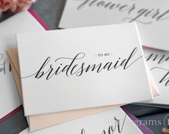 To My Bridesmaid, Maid of Honor Wedding Party Wedding Thank You Cards- Thank You Bridesmaid Card, Man of Honor, Flower Girl Single Card CS13