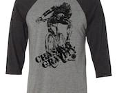 Mountain Bike T-shirt-Chasing Gravity-Mountain Bike T-shirt in Grey and Charcoal-Baseball style tee