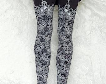 Ophelias Armor Leggings  - Black Dragon Scale Legging - Mermaid scale legging thigh high legging