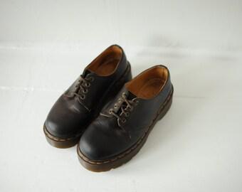 Vintage Dr. Martens Brown Leather Platform Oxford Shoes, Made in England, Womens UK 6, US 8