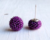 Handwoven Button Stud Earrings in glossy deep magenta pink and sterling silver posts - Songbead UK, narrative jewelry, art jewelry