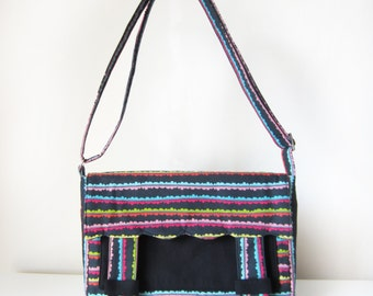 Makeforgood Cross Body Bag / Messenger Satchel Bag for Women with Pockets and an Adjustable Strap in Rainbow and Black Fabric