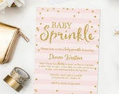 Pink and Gold Baby Sprinkle Invitation, Baby Girl Sprinkle Printable Invitation, Pink Gold Baby Shower Invitation, Printable Digital JPD358