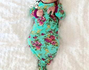 Baby Girl take Home Outfit- Newborn Girl Gown- Baby Girl- Layette- Shower Gift- Going Home Outfit- Lil Cleo