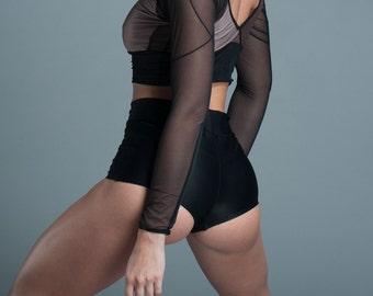 Cheeky High Waist Lycra Shorts  - Booty Shorts - Black Shorts - Hot Shorts - Including Plus Sizes
