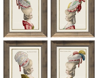 Vintage French Ladies Hats Prints French Fashion Prints, Versailles Palace Louis the XV Reign, 18th Century Hairstyle and Hat Fashion Prints