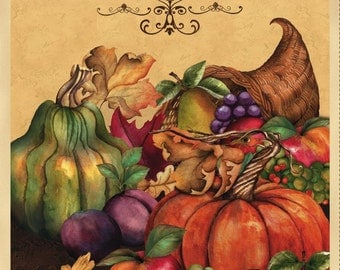 fabric panel  THANKFUL HARVEST - CORNUCOPIA  pumpkins gourds- by Wilmington Fabrics- 24 by 44 inches Fall Thanksgiving