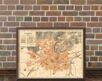 Map of Granada - Old city map print - Granada map giclee fine print