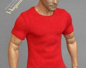 1/ 6 scale red T-shirt for: regular size collectible movable action figures and male fashion dolls