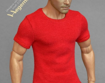 1/6th scale red T-shirt for: action figures and male fashion dolls